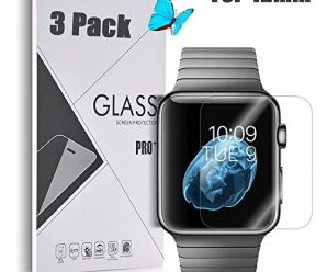 Apple Watch 42mm [Tempered Glass] Screen Protector – GreenElec [0.3mm thickness 9H Hardness 2.5D Ultra-Thin Anti-Scratch Anti-Bubble] with Lifetime Replacement Warranty, 3 Pack
