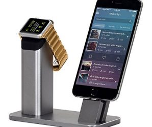 Apple Watch Stand,ZIKU 2 in 1 Aluminum Charging stand Dock Station — Support Apple Watch 3 2 and All iPhone 8/8 plus/iPhone X/SE/7/6S/PLUS with Various Case(Gray)