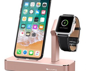 Apple Watch Stand, iVAPO Aluminum iPhone and iWatch Holder 2 in 1 Bracket for Apple Watch Series 3 Series 2 Series 1 iPhone X iPhone 8 iPhone 8 Plus iPhone 7 iPhone 7 Plus iPhone 6 Plus-Rose Gold