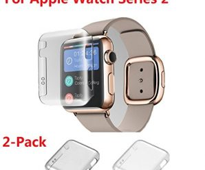 Monoy wxase-c4 Apple Watch Case, New Design Slim 2nd PC Hard Screen Protector for iWatch Series 2 38 mm 2016 – Clear Plus Grey – 2 Piece