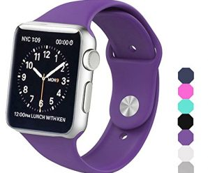 Sxciw Apple Watch Band, Soft Silicone Sports Replacement Wristband for Apple Watch (purple, 42mm-S/M)