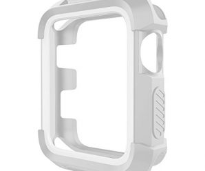 UMTELE Rugged Apple Watch Case 42mm, Shock Proof Bumper Cover Scratch Resistant Protective Case for Apple Series 3, Series 1, Grey/White