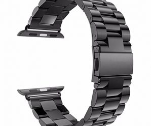 Watch Band , ANGGO Stainless Steel iwatch Strap Replacement Wristwatch Bracelet for Apple Watch Series 3 Series 2 Series 1 All Version (42mm / Black)