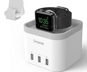 Simpeak 4 Port USB Charger Stand for Apple Watch 1/2/3 [Nightstand Mode], with Phone Holder Charger Stand for iWatch, iPhone 5/6/7/8/X and other Smartphone,iPad – Grey
