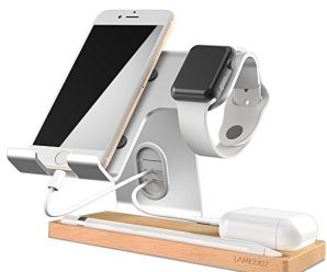 Cell Phone Stand, LAMEEKU Apple Watch Stand : Dock Cradle Holder For Switch, Apple Watch, all Smartphone, iPhone X 6 6s 7 8 Plus, Airpods Apple Pencil iPad and Tablet – Silver