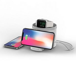imobi4 [Nightstand Mode] Charging Stand for Apple Watch Series 2/Series 1/Nike+, 3 USB ports Charging Dock Station Cable Management for iPhone 7/7 Plus/SE, iPad, Samsung (White)