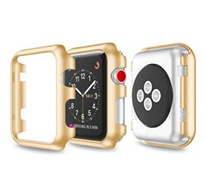 For Apple Watch Series 3 38mm, Gotd Ultra-Slim Electroplate PC Hard Case Cover For Apple Watch Series 3 38mm (Gold)