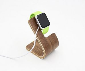 Apple Watch Stand, TELESIN Pro Natural Wood Wooden Apple Watch Charging Dock / Station / Platform Iwatch Charging Stand Bracket Docking Station Holder for Apple Watch [38mm and 42mm] (Light Walnut)