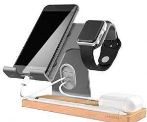 Apple Watch Charging Stand, LAMEEKU Universal 4 in 1 Cell Phone Wood Charging Stand Aluminum Phone Stand For all Smartphone, Airpods iPad Tablet (Up to 12.9 inch) Apple Watch (38mm 42mm) – Gray