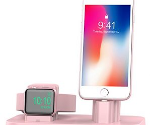 Apple Watch Stand, BEACOO Charging stand Dock Station — Support Apple Watch NightStand Mode and iPhone 7/7 plus/SE/5s/6S/PLUS with Various Case (Pink Sand)