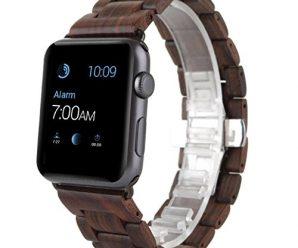 Watch Band, METFIT Men Women Natural Wood Wrist Watch Band Strap Belt Watch For Apple Watch Series 2 / 1 42mm 2017 (brown)