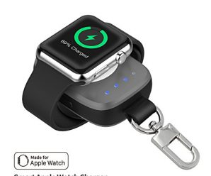 Firenew Apple Watch charger iWatch Charger with Built in 700 mAh 4 LED Indicating MFI Certified Pocket-sized Wireless Portable Battery for All Apple Watch Series 3 2 1 Nike 38mm 42mm (grey)