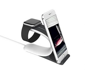 Apple Watch Stand, LOCA Mobius 2-in-1 Smart Watch Charging Holder for Apple Watch, iPhone, iPad All Edition(Grey)