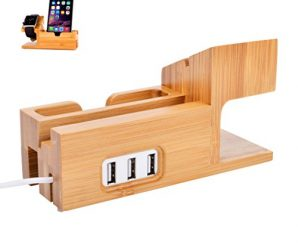 Watch Stand for Apple | TenSteed Bamboo Wood Charging Stand Bracket Docking Station Cradle Holder and Business Card Slot with 3 Ports USB HUB for iPhone and iWatch 38mm 42mm Series 1 Series 2