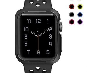 For Apple Watch Case With Band 38mm / 42mm, Kobwa Soft Silicone Shock-proof and Shatter-resistant Protective Case With Strap For Apple IWatch Sport Nike Edition Watch Series 1 2 3