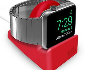 Orzly Compact Stand for Apple Watch – Nightstand Mode Compatible – RED Support Stand with Integrated Cable Management Slot (Compatible with both 38mm & 42mm Sizes)