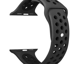 Apple Watch Band , 42MM Sport iWatch Bands Silicone Replacement Wristbands Strap for Apple Watch Series 3 Series 2 Series 1  Sport Edition , M/L Size – Anthracite/Black