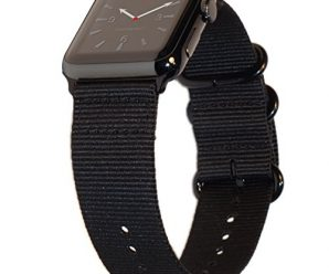Apple Watch Band 42mm XXL NYLON NATO iWatch Band for Extra Large Wrists & Ankles! 11 inch Long Custom Sizable Wristband with Durable Space Black Hardware for all 42 mm Apple Watch Models by CARTERJETT