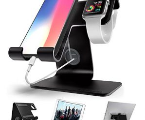 Apple Watch Stand , iphone Stand , ZVE Universal Desktop Cellphone Stand Apple iwatch Charging Dock for all Android Smartphone, iphone6/7/8 X Plus,Samsung, Nintendo Switch,iWatch and Tablets – Black
