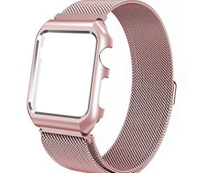 For Apple Watch Band 42mm Stainless Steel Mesh Magnetic Replacement Wrist Band With Metal Protective Case for Apple Watch Series 2 Series 1 Sport Nike+ Edition Rose Gold