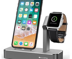 iVAPO Apple Watch Stand Solid Aluminum Charging Holder for iPhone X/8/8 Plus/7/7 Plus and Apple Watch Series 3/Series 2-Space Gray