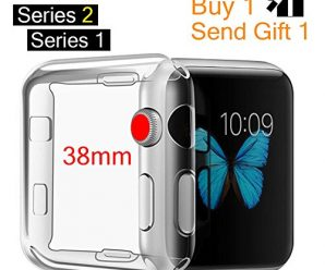 For Apple Watch Case, MOOLLY iWatch Case Soft TPU Screen Protector All-around Protective Ultra-thin Case Cover for Apple Watch Series 3 Series 2 Series 1 38mm (38mm – Front 2 Case)