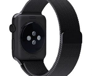 Apple Watch Band, Milanese Loop Mesh Smooth Stainless Steel Strap Freely Fully Magnetic Closure Clasp Metal Strap Wrist Band Replacement Bracelet for Apple Watch Band Series 3/2/1 (38mm Black)