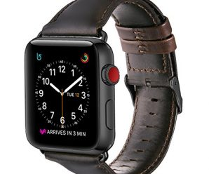Apple Watch Band 42mm, OUHENG Retro Vintage Genuine Leather iWatch Strap Replacement for Apple Watch Series 3 Series 2 Series 1, Dark Brown with Black Adapter