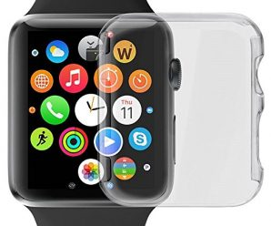 Apple Watch Series 2 Case, LUVVITT [Super Easy] Built-in Screen Protector Snap-On Case Hard Cover for Apple Watch – Clear 42 mm