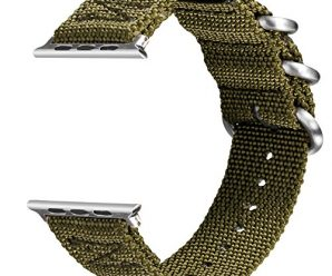 For Apple Watch Band, VIGOSS 42mm Woven Nylon NATO Band Soft Replacement Strap with Metal Adapters for Apple Watch Series 3, Series 1, Series 2, Sport, Hermes, Nike+ Edition (Army Green, 42mm)