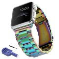 Sundo Solid Stainless Steel Metal Replacement iWatch Strap Unique Polishing Process Business with adapter Accessories for Apple Watch band Series 1/2 (colorful 42mm)