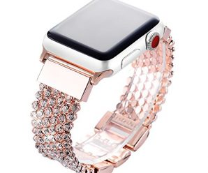 Apple Watch Band 38mm Women Girls, FresherAcc Bling CZ Crystal Rhinestone Mesh Chain Loop Replacement Strap for iWatch Series 1, 2, 3, Sport Edition Nike+ Hermes (Rose Gold)