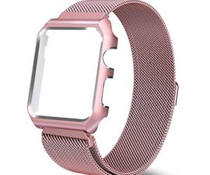 Yearscase 38MM Milanese Loop Replacement Band with Metal Protective Case for Apple Watch Series 3 Series 2 Series 1 Sport&Edition – Rose Gold