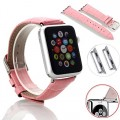 Apple Watch Band, oneCaseTM 38mm Genuine Leather Strap Wrist Band Replacement Watch Band with Metal Clasp for Apple Watch Sport Edition 38mm (38mm-Pink)