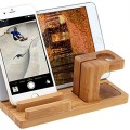 Apple Iwatch Stand, 3 in 1 Bamboo Wood Charge Dock Holder for Apple Watch Both 38mm and 42mm& Iphone Ipad & Other Phones Tablets By Tophot