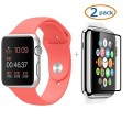 Apple Watch Band, Camkey Soft Silicone Fitness Replacement Pieces Sport Band for 42mm Apple Watch All Models, Red (3 of Bands Included for 2 Lengths) + 2 Pack Glass Screen Protector