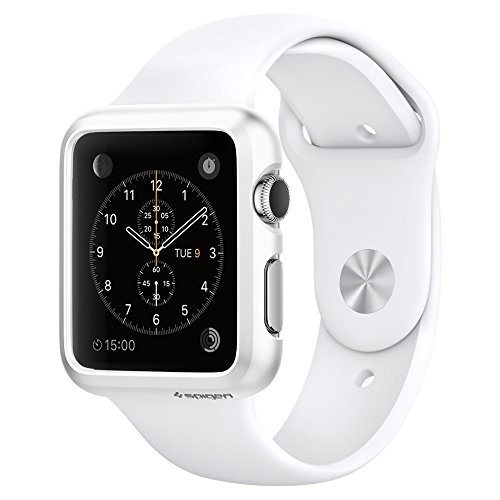 Apple Watch Case, Spigen® [Updated Version] [Thin Fit] Exact Fit [Smooth White] Premium Matte Finish Hard Case for Apple Watch 42mm (2015) – Smooth White (SGP11499)