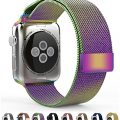 Apple Watch Band Leefrei Magnetic Closure Clasp Milanese Loop Stainless Steel Mesh Bracelet Replacement Strap for Apple Watch All Models Colorful 38 MM
