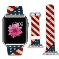 iWatch Leather Band 42mm, Band with Adapter for Apple Watch Strap 42mm – Retro diagonal stripes American flag