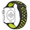 OULUOQI Apple Watch Band 42mm, Soft Silicone Replacement Wrist Strap for Apple Watch Series 2, Series 1, Nike+, M/L Size ( Black / Volt Yellow )