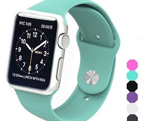 Apple Watch Band, Soft Silicone Sports Replacement Wristband for Apple Watch (Mint green, 38mm-S/M)