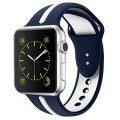 Soft Silicone Watch Band for Apple iWatch Sports/Editions Series 2/Series 1 Sport Style Replacement Watchband Strap Stripe Contrast Color Wristbands (Blue/White, 42mm)