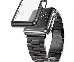 Apple Watch Band, iitee[TM] Stainless Steel Apple iWatch Strap Replacement with plated screen protector case (38mm black)