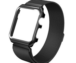Apple Watch Band, 42mm with Metal Case Milanese Loop Magnetic Mesh Stainless Steel – Shockproof Protective Screen Bumper w Anti-scratch Soft Rubber Lining for iWatch Sport & Edition – Black