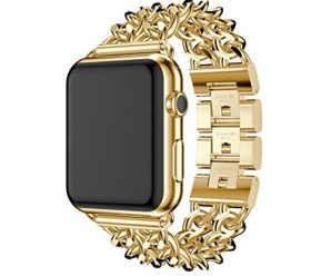 For Watch Apple Watch 38mm, Sunfei New Stainless Steel Watch Band Replacement Strap (Gold)