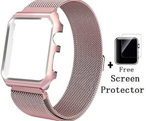 Apple Watch Band and Case with Free Screen Protector 38mm 42mm, SWINCHO Milanese Loop Magnetic Mesh Stainless Steel Bracelets for iWatch series 2, series 2 (rose gold, 38mm)