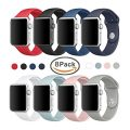 Sivir 38mm Soft Silicone Replacement Band Sport Strap for Apple Watch Series 2, Series 1, Sport, Edition, M/L Size (8 Pack)