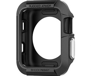 Spigen Rugged Armor Apple Watch Case 38mm with Resilient Shock Absorption for 38mm Apple Watch Series 3 / Series 2 / 1 / Original (2015) – Black