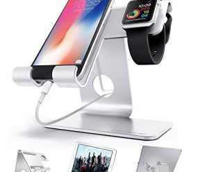 ZVE Universal 2 in 1 Aluminium Desktop Charging Stand for iWatch, Smartphone and Tablets Up to 12.9-Inch – Silver Stand with 38mm case
