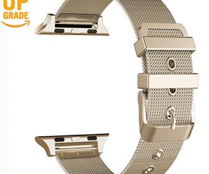 Apple Watch Band, GEOTEL Apple Watch Accessories iWatch Band Milanese Loop Stainless Steel Band with Classic Buckle for Apple Watch Series 3 Series 2 Series 1,Nike+,Hermes,Sport(38MM-CHAMPAGNE GOLD)